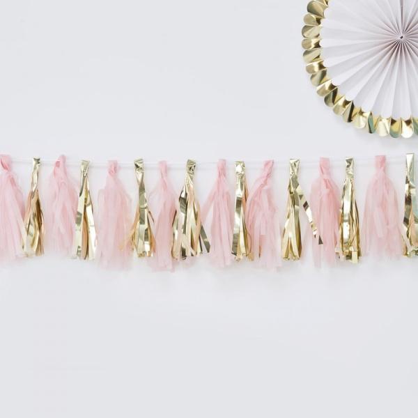 Girlanda - ružové a zlaté strapce - Party-Store.sk 31605a19937